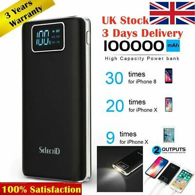 Waterproof Solar Power Bank 2USB 100000mAh Battery Portable Charger For Mobile