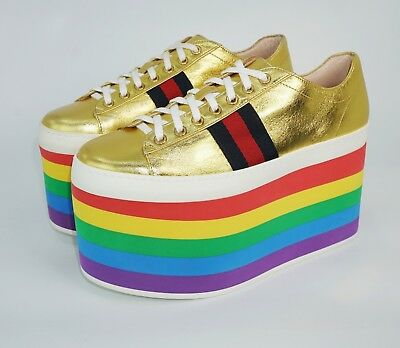 31ed5a991f2 GUCCI PEGGY PLATFORM Sneaker Metallic Gold Leather Rainbow Shoes ...