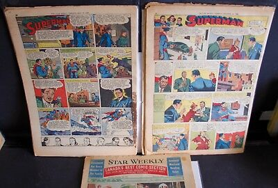 3 Toronto Star Weekly Comic Strip Inserts 1949 -1951 Superman Lone Ranger Popeye
