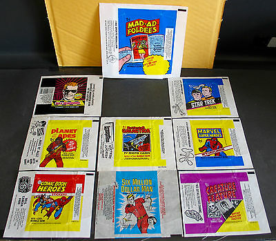 Lot 12+ Vintage Wrappers From Sticker & Card Series Topps Donruss FN-NM 1973-87