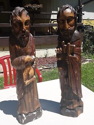 Antique Hand Carved Wood Statue wonderful ornate detailed of holy men