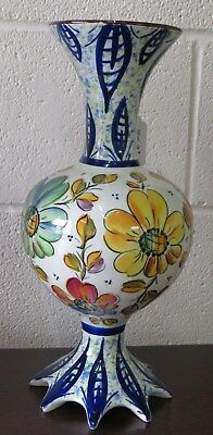 Decorative Floral Italian Pottery Vase