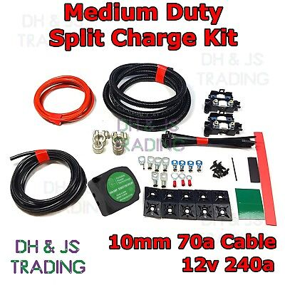 2M Split Charge Kit Voltage Sensitive - Camper Van Kit 140a 12v Relay 70a Cable