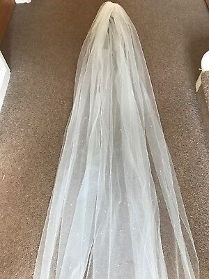 "BNWT  Italian Tulle Silk single tier veil with Swarovski crystals 126"" RRP £198"