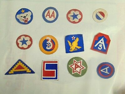 WW2 WWII Patch lot 3 AAF Army Command 12 patches
