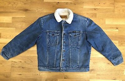 Authentic Vintage Wrangler Denim Jacket Mid Wash With Sherpa Lining Size L
