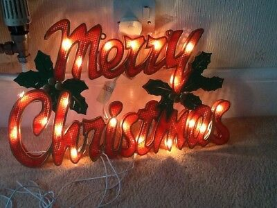 Vintage Merry Christmas light up decoration