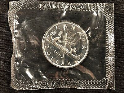 CANADA 1963 Proof-Like Uncirculated Dollar Coin in Original Cellophane Wrapper