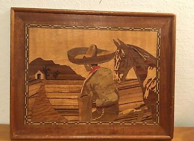 Mexican Marquetry Inlaid Wood Picture Man Horse Dated 1935 Signed Folk Art NR