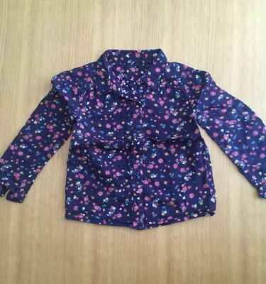 Mothercare Baby Girls Navy Blue Retro Floral Ditsy Shirt Blouse Age 18-24 Months