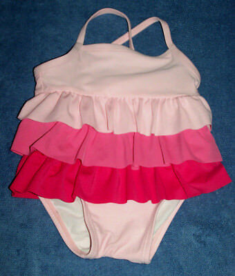 Infant MED (18-23 lbs) GIRLS 1-Pc Swimsuit Layers of Pink Ruffles Bathing suit