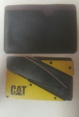 Cat Credit Card Thin Cardsharp Wallet Folding Steel Pocket Knife Camping