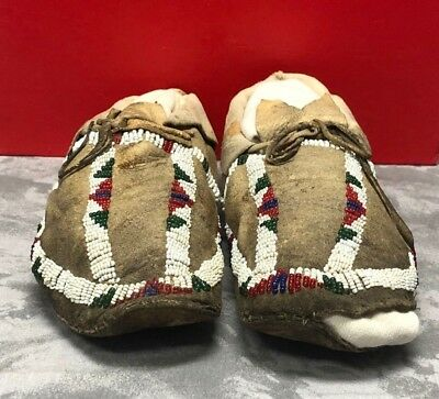 Vintage Beaded Leather Moccasins