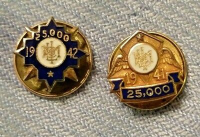 Lot of 2 Gold filled Met Life 1941/42 25k Award Pins