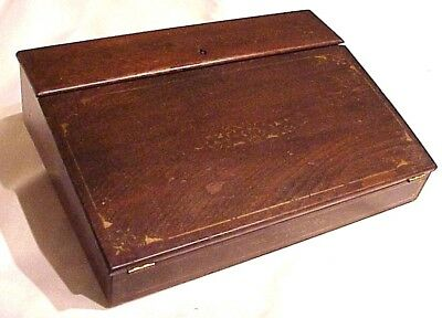 Very Old! Antique Victorian Mid 19Th Century Slant Top Writing Lap Travel Desk
