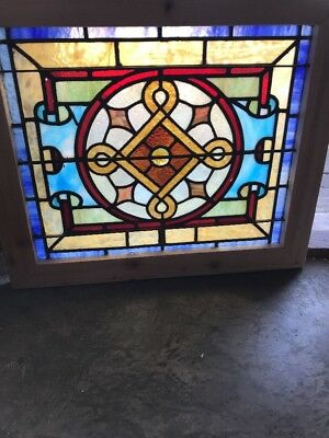 SG 2413 antique Stainglass window with Large jewel in center 22.25 x 26