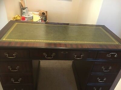 Antique Style Mahogany Pedestal Writing Desk Dark Green Leather Top RM16 Or CO11