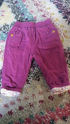 Mothercare Pink and Yellow Baby Girl Trousers 3-6 months