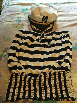 Sailor Top And Captain's Hat, Small, Women