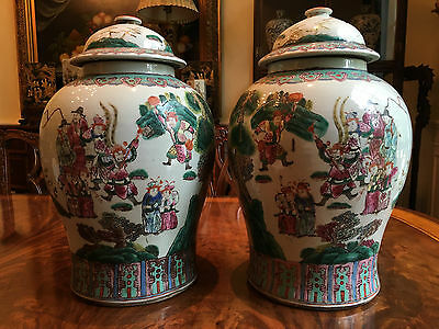 A Pair Large Chinese Qing Dynasty Famille Rose Porcelain Temple Jars.