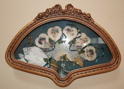 Vintage Victorian Ladies Hand Fan Framed in Custom Shadow Box, Hand Painted