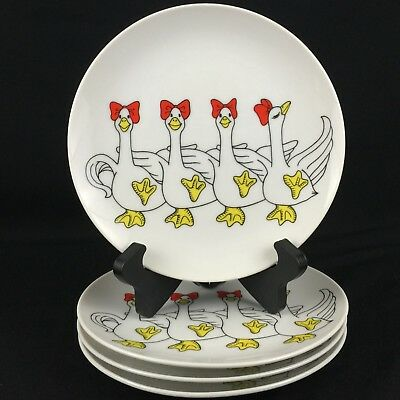 Set of 4 VTG Dessert Plates by Fitz and Floyd Variations GEESE Chorus Line 1979