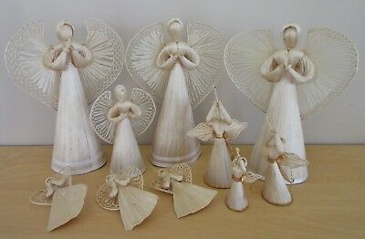 (10) Vintage Hand-crafted STRAW ANGELS Christmas Decorations