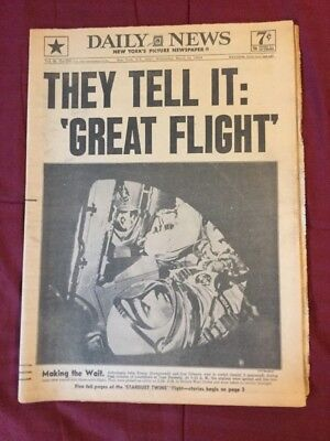 Gemeni 3 - Space Flight - Gus Grissom, John Young -1965 New York Daily Newspaper