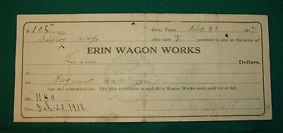 1917 Receipt of Payment document- Erin Wagon Works (Cumberland City, Tennessee).