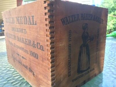 Walter Baker & Co Ltd Vintage Wooden Dovetail Box Early 1900's primative