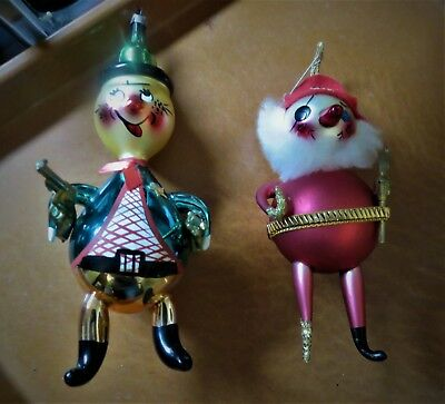 Vtg figural hand blown glass Pirate  Sheriff Christmas ornaments Italy & Germany