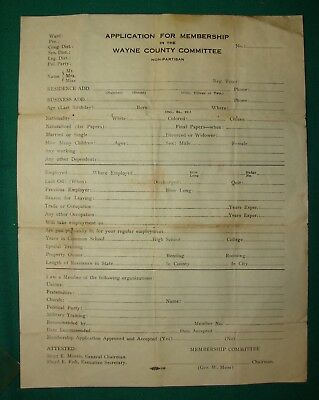 Early Wayne County Commission Membership Form (blank) - Michigan.