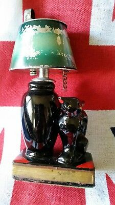 Vintage Evans Cigarette Lighter, Figural Ceramic Cat & Lamp Lighter.