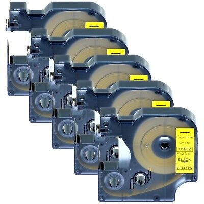 "5PK 18432 Black on Yellow Vinyl Label 1/2"" for DYMO RHINO 4200 5200 6000 Printer"