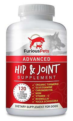 Glucosamine Chondroitin MSM Turmeric for Large & Small Dogs Hip and Joint Suppor