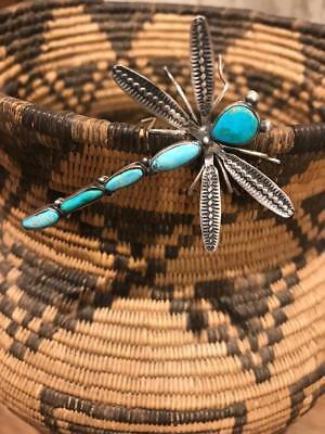 Herbert Ration, Navajo Silver Dragonfly Pin with Turquoise