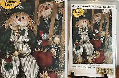 "NEW 38"" Scarecrow Doll Pattern: ""SIMON HAYSEED"", The Farmer's Friend, #393,"