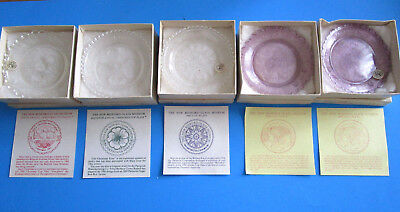 LOT of 5 Vintage Pairpoint CUP PLATES New Bedford Glass Museum 1980's in boxes.