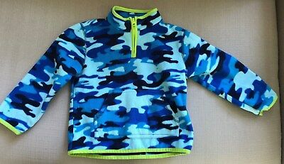 Crazy 8Half Zip Fleece Jacket, 3T, Bright Blue Camouflage w/Lime Piping