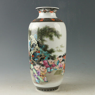 Chinese Porcelain Hand-painted Childrens Vase W Qianlong Mark R1167.a