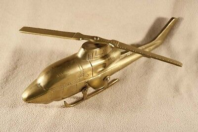 Solid Brass Helicopter Model with Turning Blade Desk Decor