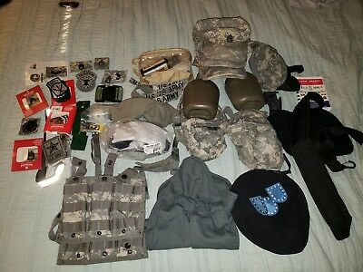 LARGE US Army Lot Army Combat Uniform ~ ACU ~ Patches ~ Mixed Lot ~ Ammo Pouches