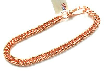 NEW Solid Bright Polished Copper Double Link Chain Ladies Bracelet USA Made