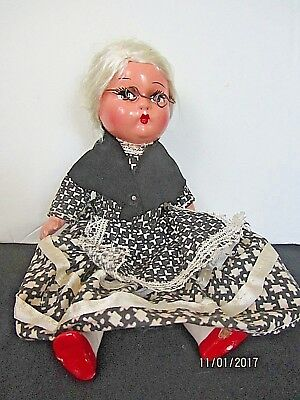 """VTG MOHAIR WIG 9"""" COMPOSITION GRANDMA DOLL w/PAINTED EYES, RED LIPS & RED SHOES"""