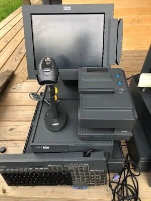 IBM POS Point Of Sale System Printer 4610 TH4 Scanner LS4208 Monitor 4820  #1