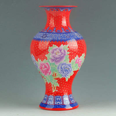 Chinese Porcelain Hand-Painted Peony Vase Mark As The Qianlong Period  R1154.b