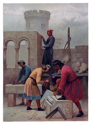 Operative Masons 10th Centuty Art print ring 12x18 ANTIQUE Freemasonry poster