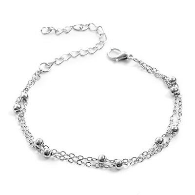 Summer Women Girl Stainless Steel Bracelet Chain Bead Anklets Jewelry Beach New
