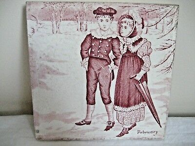 Antique Victorian Josiah Wedgwood & Sons Etruria Month Tile For February