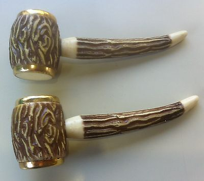 Vintage 1960s Salt & Pepper shakers.Celluloid? Pipes.Faux Stag Horn stem handles